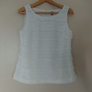 Talbots White Lace Sleeveless Blouse Fitted Size 6